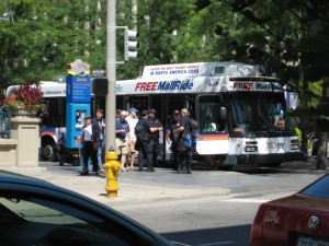 Literally bussing police officers into the city