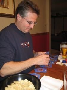 Dad dealing my game-winning hand