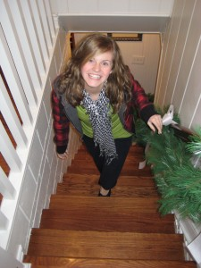 Janel on the catwalk--er--stairs