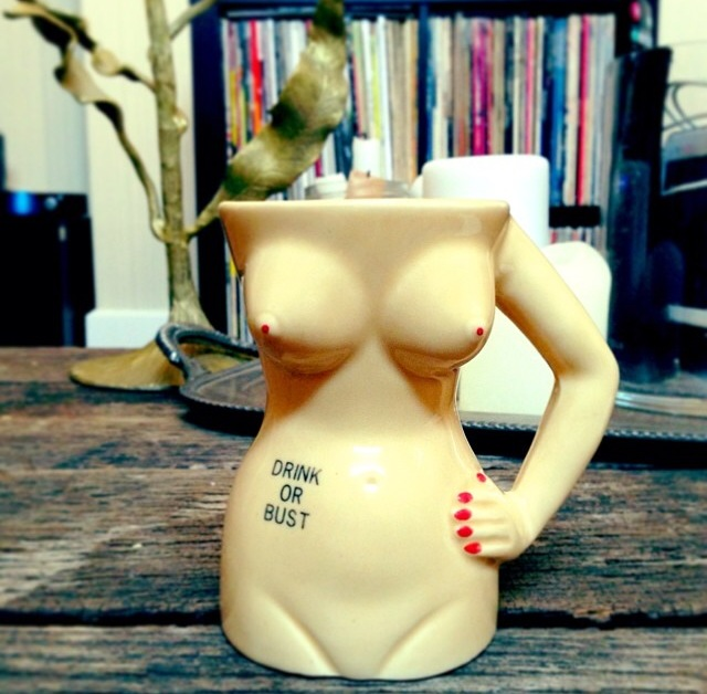 """Here's a nakey lady mug I bought as a Christmas gift for Bryan. (I think I use it more than he does.) I got it from the Etsy store """"Vintage by the Pound"""" for (eek!) $37.00. Definitely a splurge."""