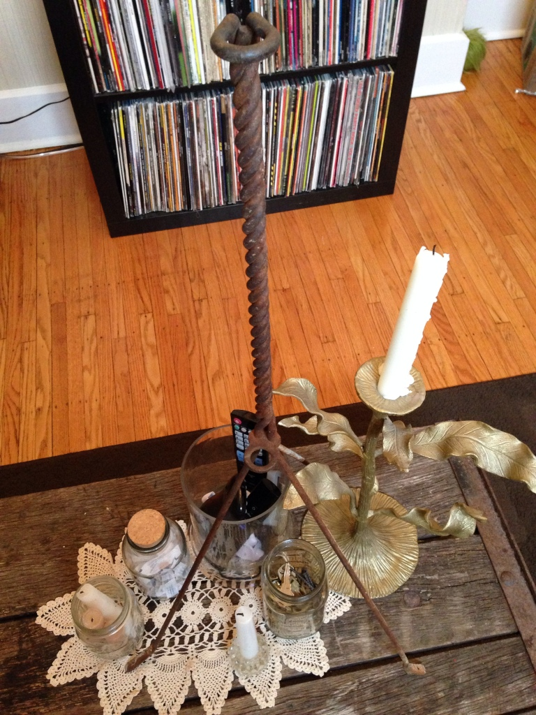 I bought this antique lightning rod holder because I thought it would make an amazing coffee table centerpiece. Bryan doesn't understand my vision. From The Inventorialist for $45.00.